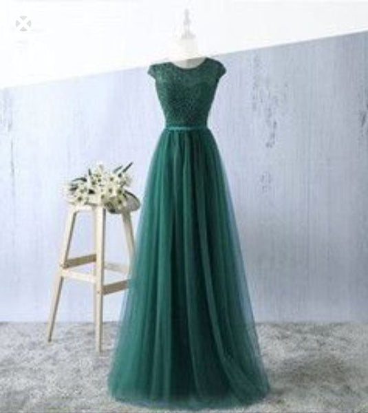 Cap Sleeved Round Neck Lace A-line Long Evening Dress, Prom Dresses, TYP1125