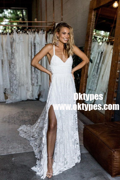 A-Line Straps Backless Court Train Lace Beach Wedding Dresses, TYP0858