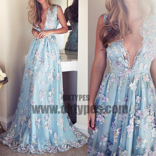 V-neck Sleeveless Blue tulle Appliques Prom Dresses, Affordable Long A-line Prom Dress, TYP0651