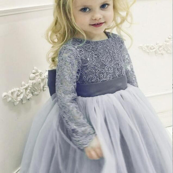 b3ed6dd06383 Long Sleeve Lace Round Neck Dusty Blue Tulle Flower Girl Dress with  Bowknot, TYP1007