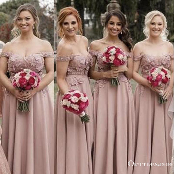 90571f62068bd A-line Off Shoulder Lace Embroidery Long Cheap Bridesmaid Dresses, TYP1979