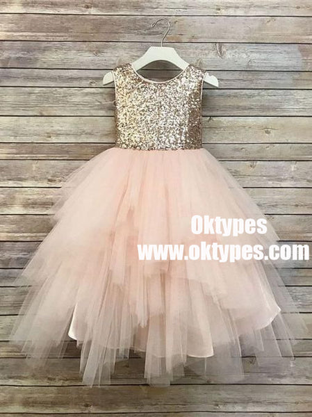 Sequin Top Champagne gold Flower Girl Dress, Champagne Tutu Flower Girl Dresses, TYP0846