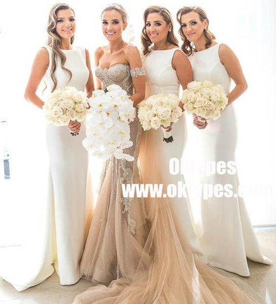 Sheath Round Neck Sleeveless White Satin Bridesmaid Dresses, TYP0953