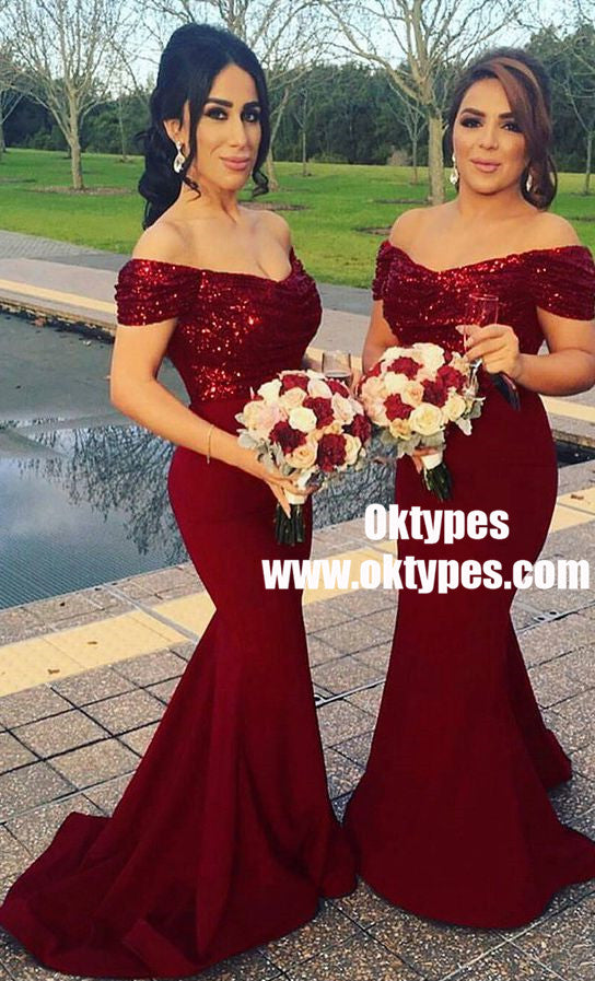 Mermaid Off Shoulder Sweep Train Dark Red Bridesmaid Dress with Sequins, TYP0892
