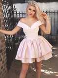A-Line Off-Shoulder Pink Satin Short Cheap Homecoming Dresses, TYP1022