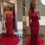 Red Long Mermaid Prom Dresses, Halter Prom Dresses, Backless Prom Dresses, Charming Evening Dresses, TYP0282