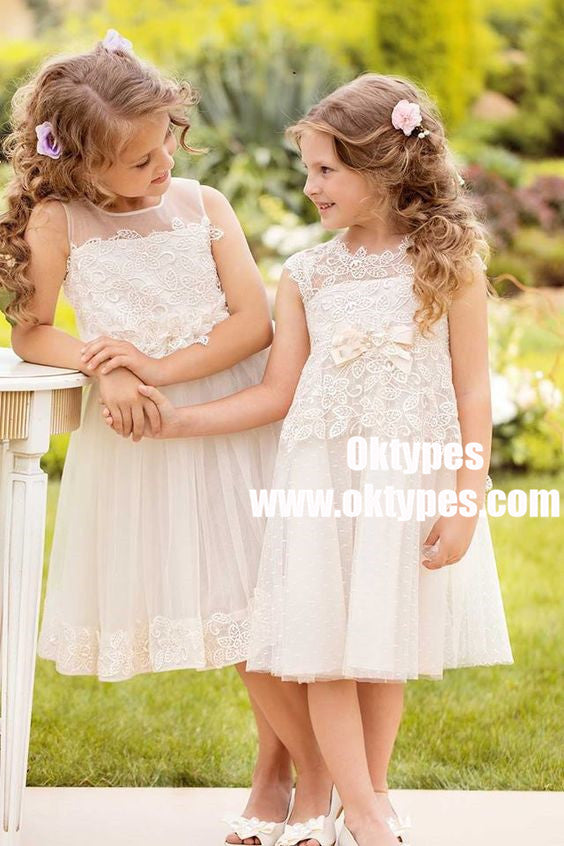 A-Line Round Neck White Lace Flower Girl Dress with Lace Bow Knot, TYP0890