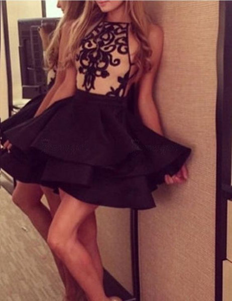 Black Halter Sleeveless Short Cheap Homecoming Dresses With Applique, TYP1146