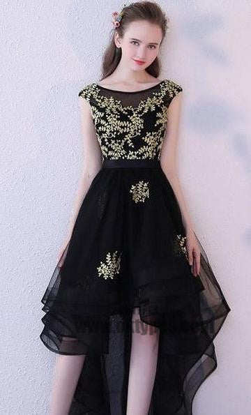 High Low Black Prom Dresses, Appliques Prom Dresses, Backless Prom Dresses, Scoop Prom Dresses, TYP0307