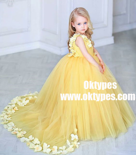 Ball Gown V-Neck Sweep Train Yellow Tulle Flower Girl Dress with Flowers, TYP0966
