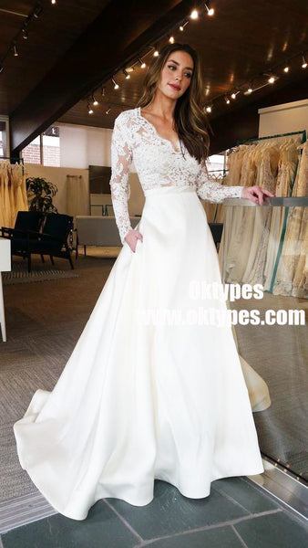 A-Line V-Neck Lace Top Long Sleeves Satin Wedding Party Dress with Pockets, TYP0896