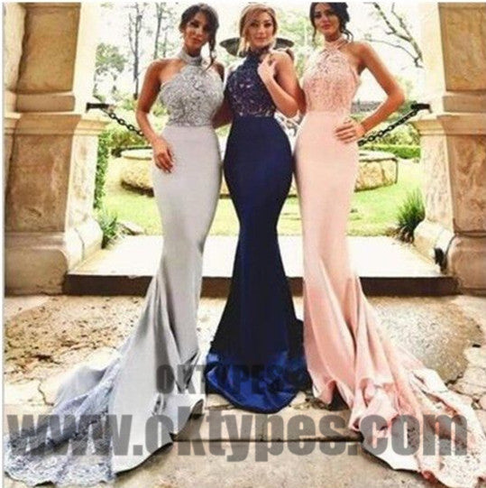 2018 Bridesmaid Dresses, Halter Top Lace Mermaid Bridesmaid Dresses, Backless Bridesmaid Dresses, TYP0361