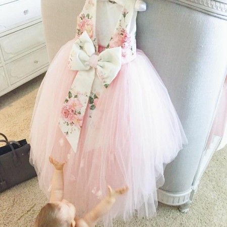 7e9a0e789e Beautiful Floral Printed V-Back Pink Tulle High Low Flower Girl Dresses  With Flower Appliques