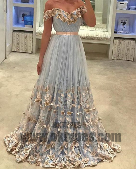 2018 Newest Long Mermaid Prom Dresses, Off-shoulder Appliques Prom Dresses, Backless Zipper Tulle Prom Dresses, TYP0367