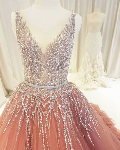 Beaded Rhinestones V Neck Aline Gorgeous Fashion Formal Elegant Prom Dresses, TYP1399