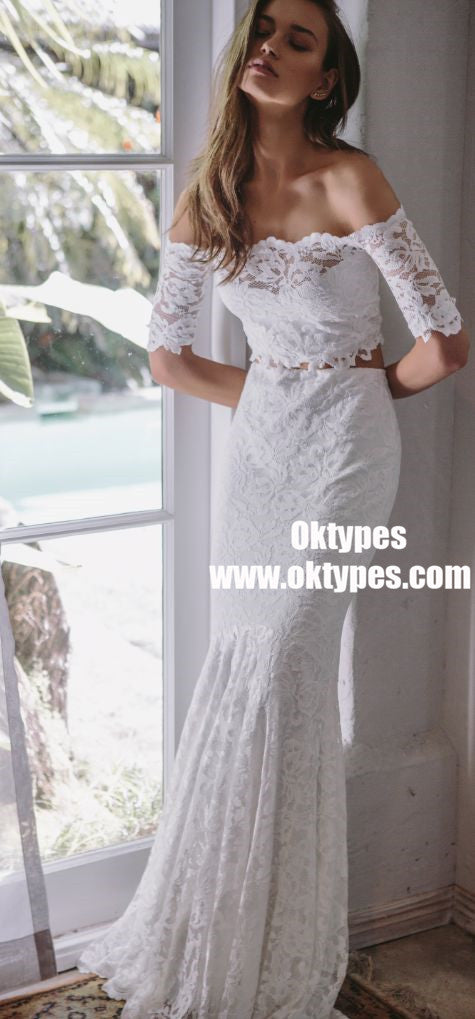 Two Piece Mermaid Off-the-Shoulder Lace Wedding Dresses, TYP0877
