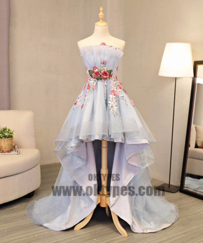 High Low Handmade Flower Tulle Prom Dresses, Sweetheart Backless Prom Dresses, TYP0414