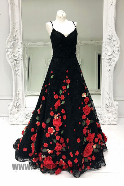 Black Lace Handmade Flowers Prom Dresses, A-line Prom Dresses, Lovely Prom Dresses, TYP0386