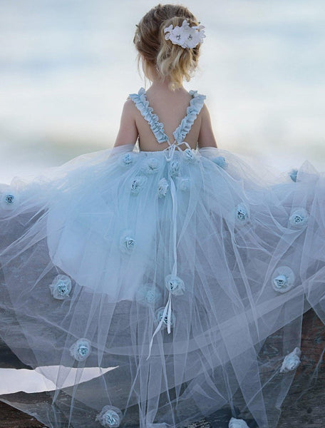 Blue Tulle A-Line Flower Girl Dresses, Backless Popular Little Girl Dresses, TYP1420
