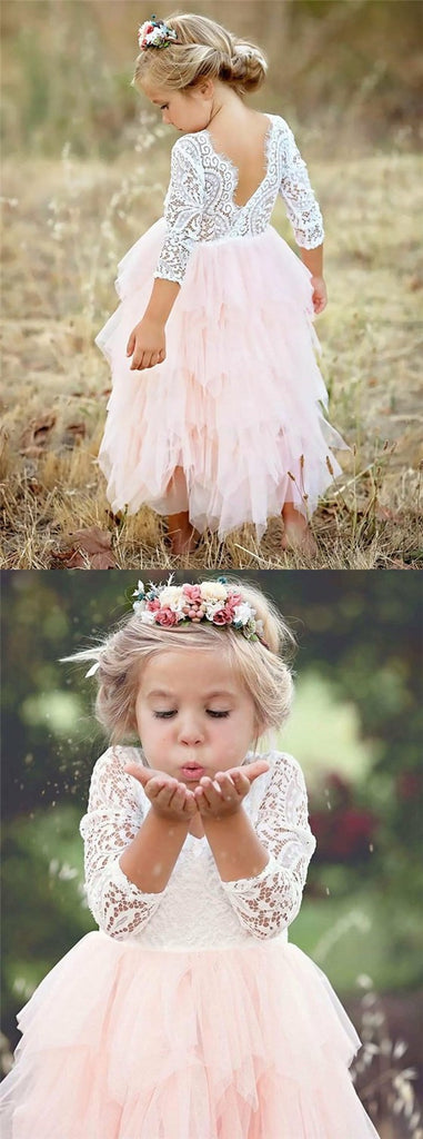 A-Line Scoop Tea-Length 3/4 Sleeves Pink Flower Girl Dresses with Lace Ruffles, TYP1027