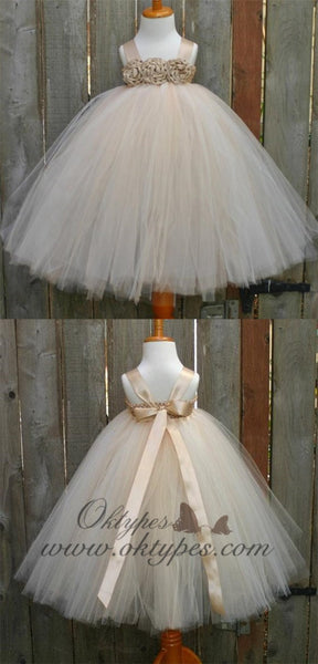 Satin Strap Tulle Flower Girl Dresses, Satin Flower Lovely Little Girl Dresses Online, TYP1187