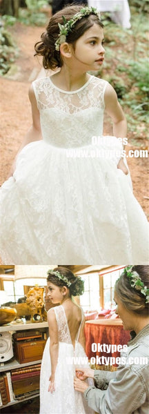 A-Line Jewel Backless Tea-Length White Lace Flower Girl Dresses, TYP0867
