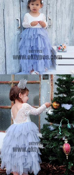 Scoop Long Sleeve Lace Top V-back Tulle Flower Girl Dresses, Popular Little Girl Dresses, TYP0530