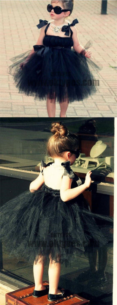 Cool Black Tulle Little Girl Dresses, Affordable Flower Girl Dresses, Little Black Dress, TYP0623