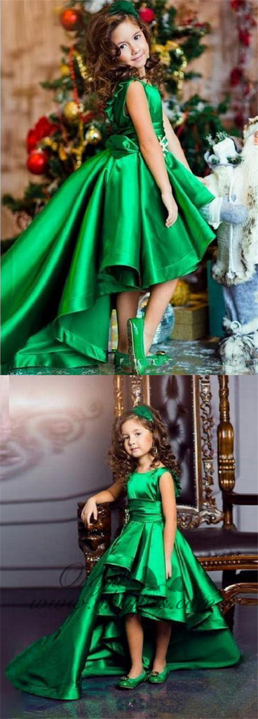Green Party Dresses For Kids High Low Cheap Flower Girl Dresses, TYP1220