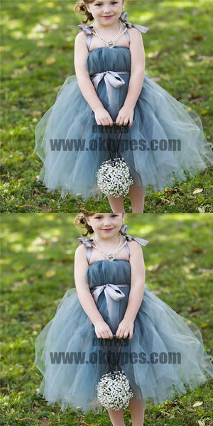 Dusty Blue Pix Tutu Dresses, Tulle Flower Girl Dresses, Cheap Little Girl Dresses for Wedding, TYP0628