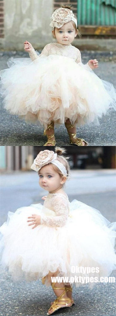Ball Gown Bateau Long Sleeves Short Tulle Cute Flower Girl Dress with Lace, TYP1010