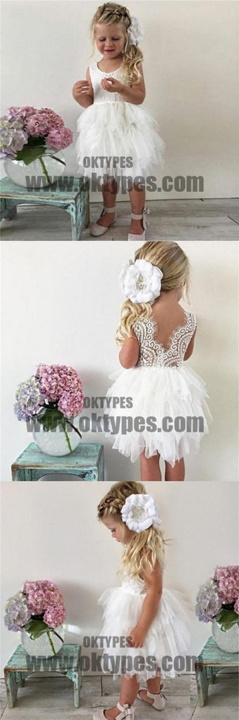 Tulle Lace Sleeveless Flower Girl Dresses, Lovely Tutu Dresses, Flower Girl Dresses, TYP0693