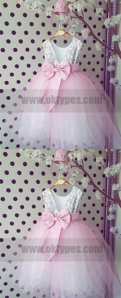 Silver Sequined Pink Tulle Flower Girl Dresses, Cute Flower Girl Dresses, TYP0768