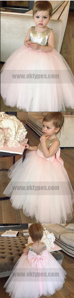 Ball Gown Gold Sequin Pink Tulle Flower Girl Dresses With Bow, TYP0743