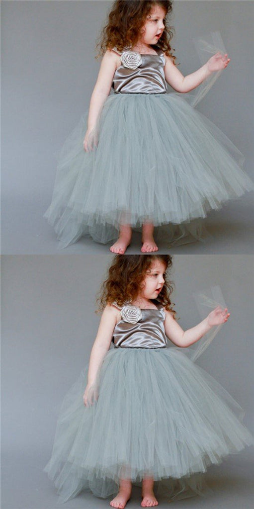Satin Top Strap Tulle Cute Little Girl Birthday Dresses, Free Custom Dresses, TYP1119