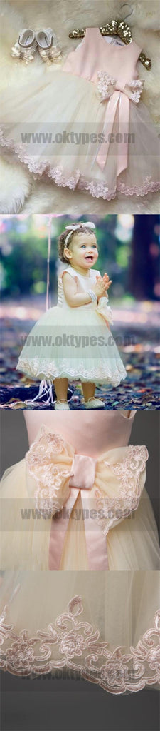 Pink Cheap Sleeve Long Flower Girl Dresses With Bow, Cute Flower Girl Dresses, TYP0744