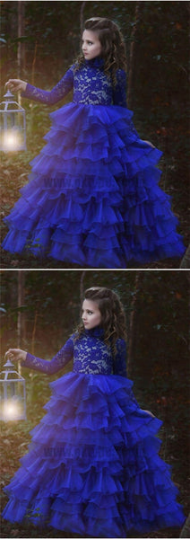 Blue Halter Long Sleeve Lace Tulle Flower Girl Dresses With Ruffles, TYP0769