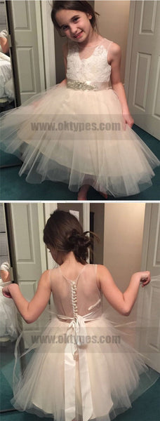 Flower Girl Dress,Tulle Flower Girl Dress,Lace Flower Girl Dresses,Sleeveless Flower Girl Dress With Rhinestone, TYP0741