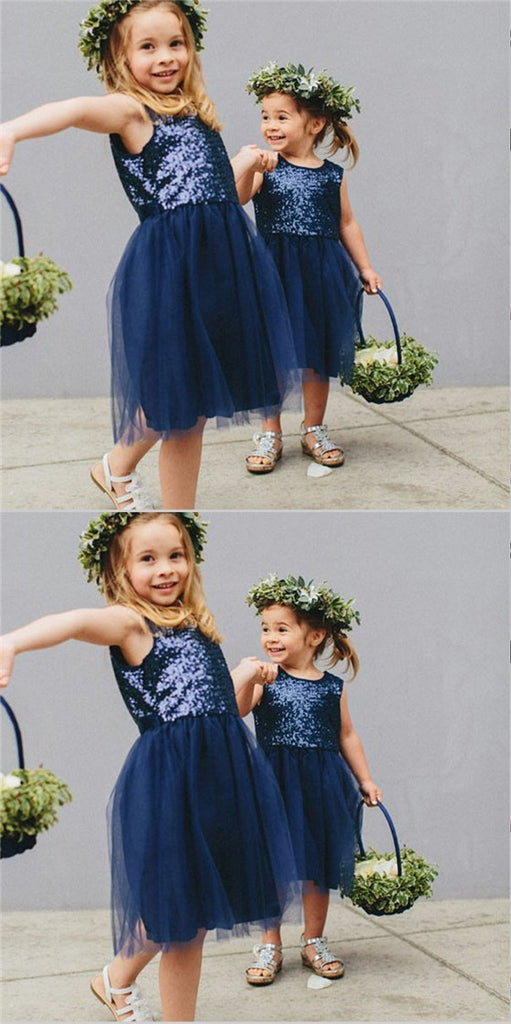 Cute A-Line Round Neck Navy Blue Tulle Flower Girl Dresses with Sequins, TYP1155