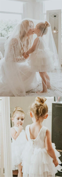 Cute Round Neck Tiered White Tulle Flower Girl Dresses with Lace, TYP1066