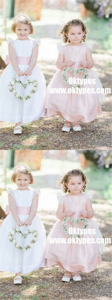 A-Line Bateau Long Pink Organza Flower Girl Dress with Sash, TYP0889