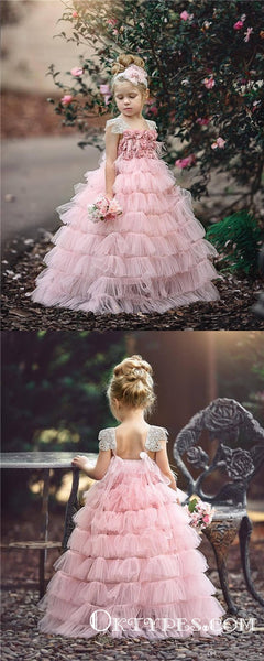 afc089936c8f Pink Layers Tulle 2019 Lace Princess Long Ball Gown Flower Girls Dresses,  TYP1953