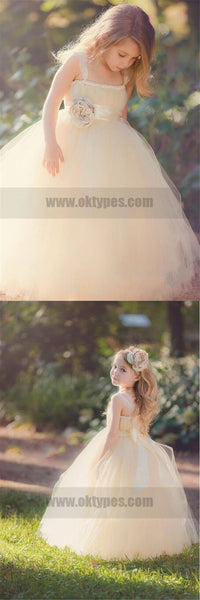 Hot Sell Strap Ball Gown Flower Girl Dresses With Bow, Cute Flower Girl Dresses, TYP0766