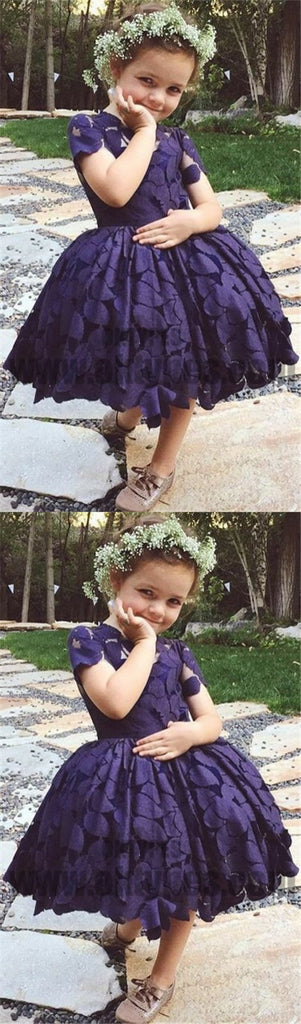 A-Line Round Neck Short Sleeves Flower Girl Dresses, Purple Flower Girl Dresses, TYP0720