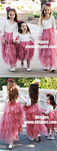 A-Line Round Neck Hot Pink Tulle Flower Girl Dress with Lace, TYP0950