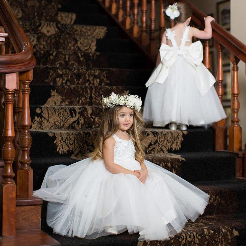 Cute Bateau White Tulle Lace Appliqued A-line Long Cheap Charming Flower Girl Dresses, FGS0016