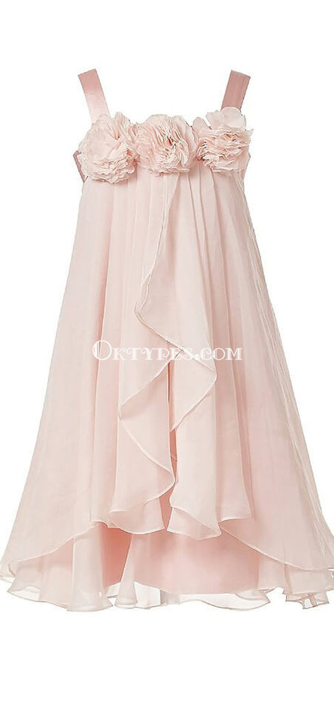 Pink Straps Zipper Up Flower Girl Dresses With Flower Appliques, TYP1152