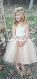 A-Line Bateau Tea-Length Blush Tulle Flower Girl Dresses, TYP0887