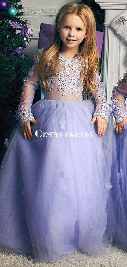 Princess Off Shoulder Long Cheap Chiffon Junior Bridesmaid Flower Girl Dresses, TYP1031