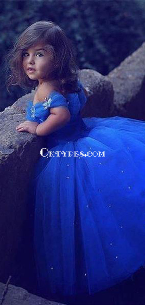 Off the Shoulder Royal Blue Organza Toddler Baby Flower Girl Dresses, TYP1247